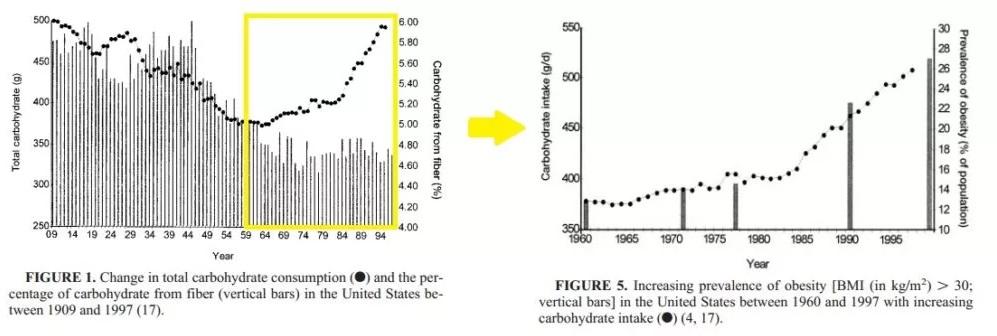 """Ich will nicht unbedingt sagen, dass der rapide Gewichtsanstieg der westlichen Zivlisation mit dem Aufkommen der """"Fett-Phobie"""" und der Zuwendung zu (noch mehr) Industriekohlenhydraten zu tun hat, aber ... halt - Einen Moment! Doch, genau das will ich sagen, Sack Zement! Die Grafik zeigt die zeitliche Entwicklung von Kohlenhydratkonsum (links) und der Anstieg von Übergewicht (rechts) in den Vereinigten Staaten von Amerika."""